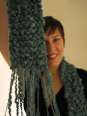 Photo of Liat Gat wearing Super-bulky Garter Stitch Scarf for KUTV