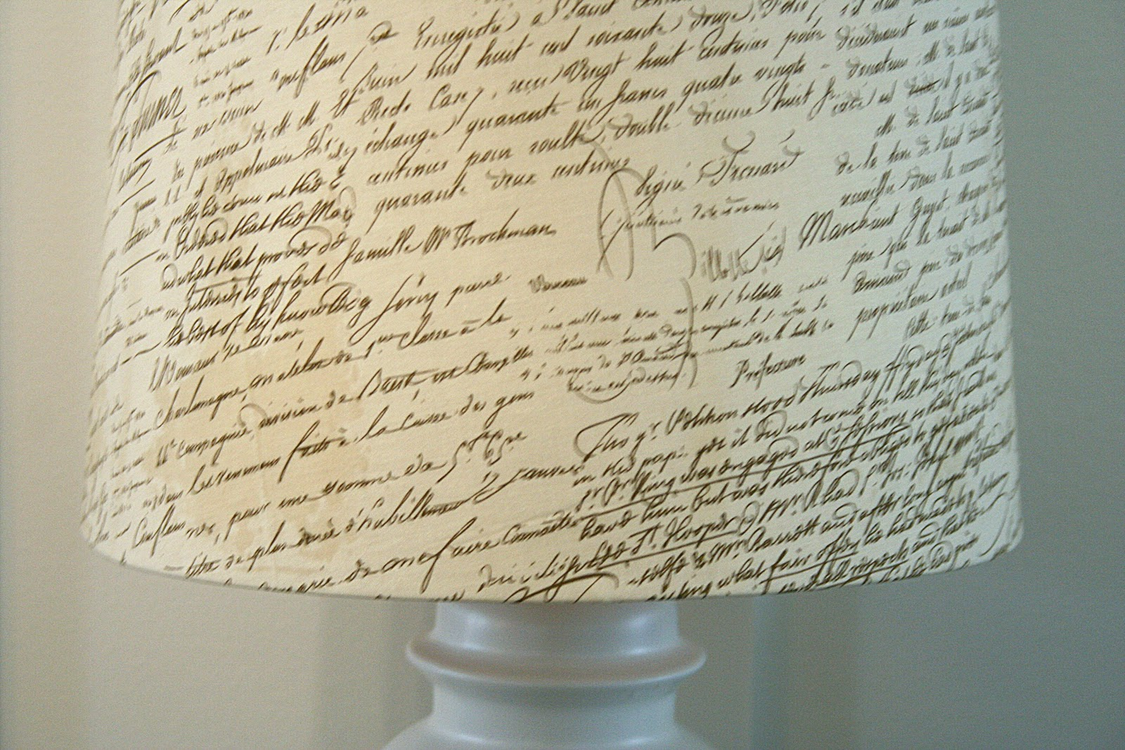 Pottery Barn Knock Off Script Lamp Shade
