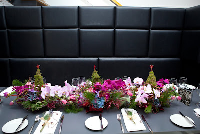 Long Amp Low Christmas Table Centrepieces In Hot Pink