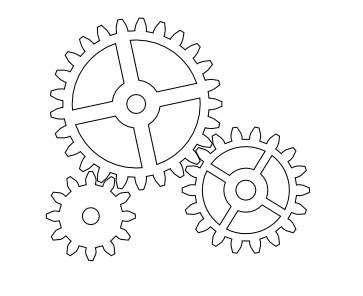 Simple Clock Gears Coloring Pages