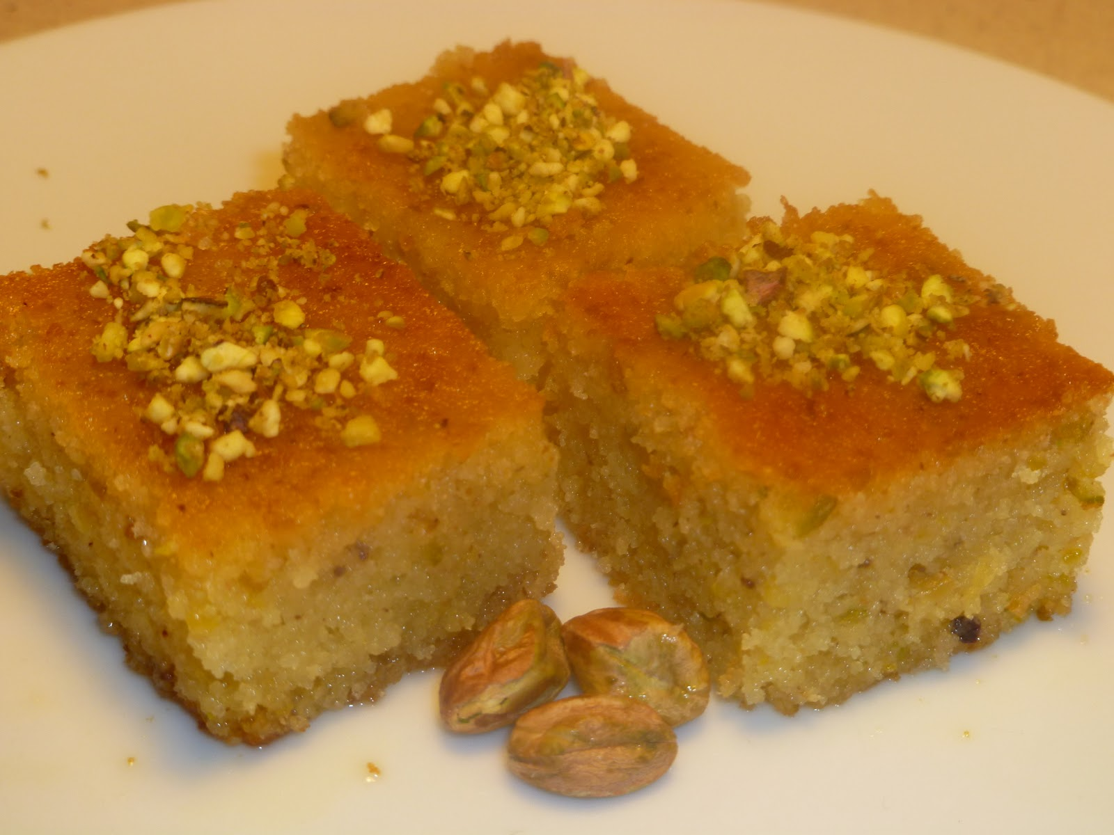 Bassboussa With A Turkish Twist Semolina Cake Pistachios And Oranges