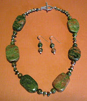 Unakite sterling silver necklace