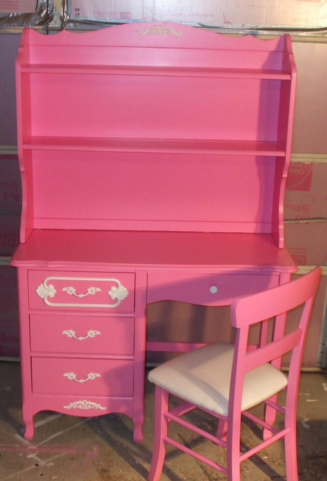 Hot Pink Office Chair Old Wood New Paint Vintage Girls Pink Desk