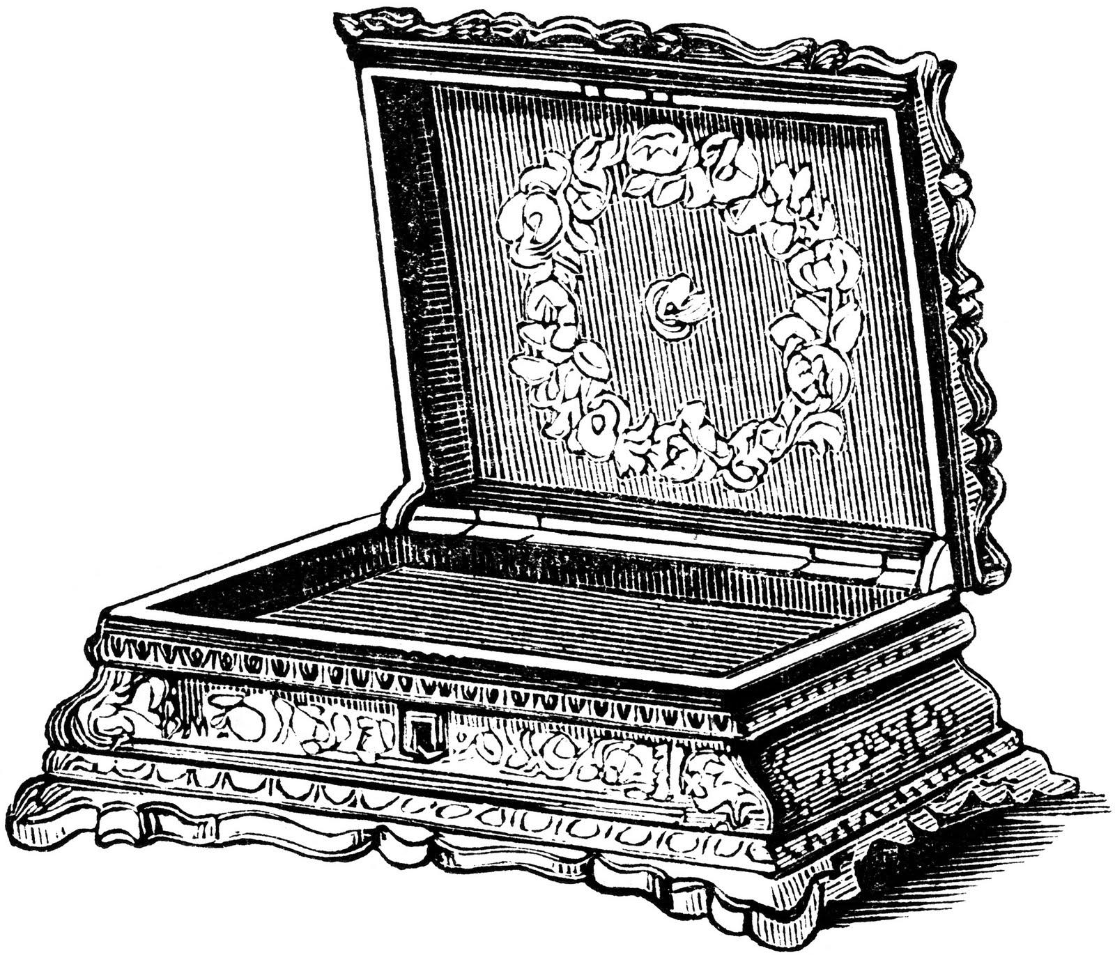 Vintage Ephemera: Engraved illustration, jewel box, 1851