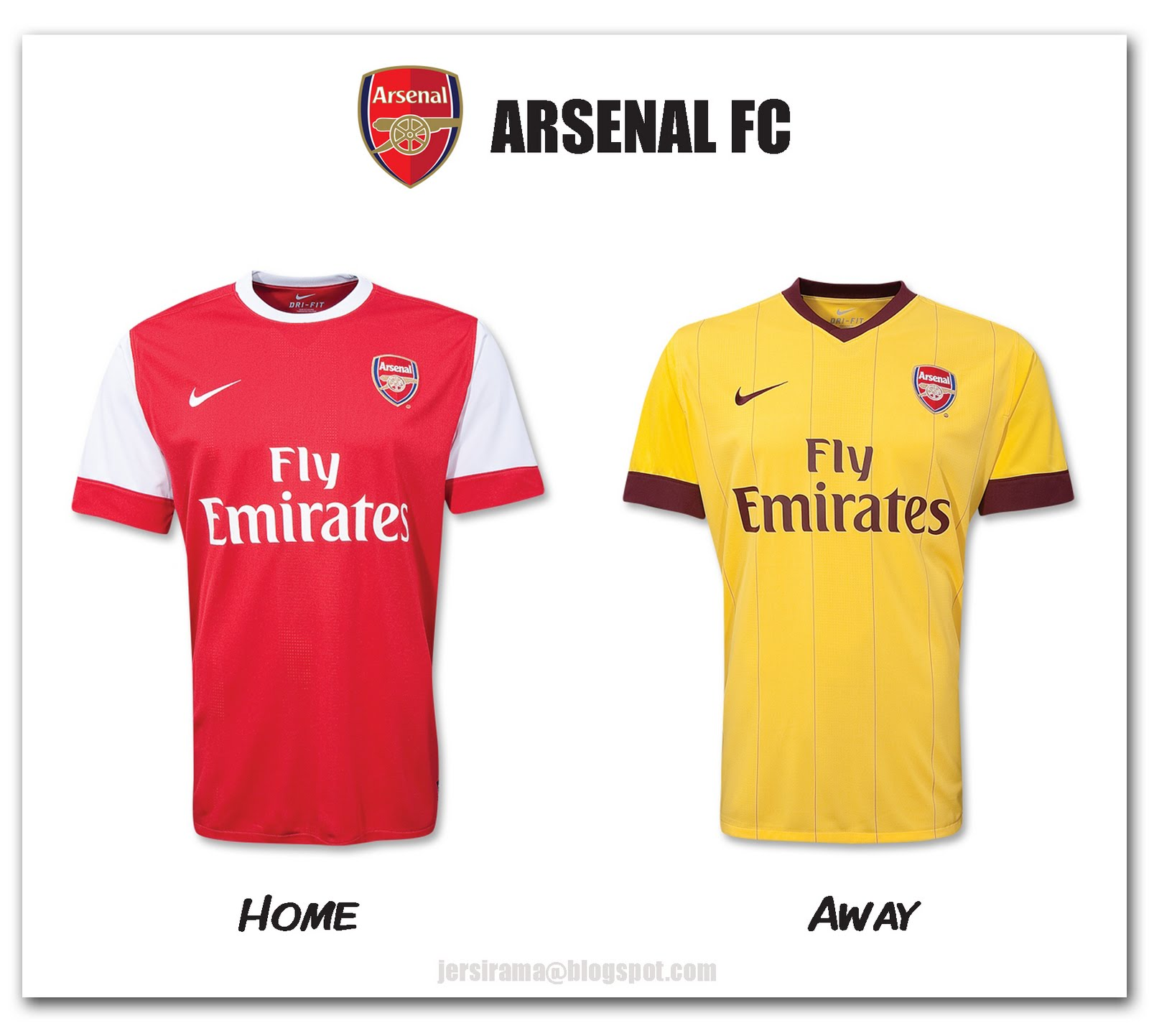 93f9b884a Jersirama  Arsenal Home   Away Jersey 2010 2011