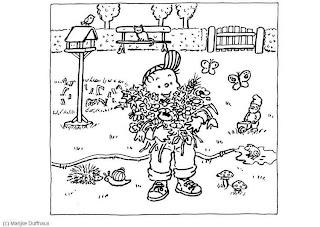 Huerto Natural Dibujos Para Colorear Recolectando Flores