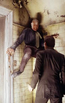 Morpheus fights Agent Smith...in the bathroom?
