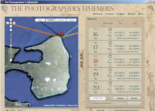 The Photographer´s Ephemeris 1.0 Software para fotógrafos de natureza baseada no mapa Google earth