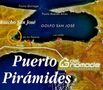 Mapa de ubicación del Riacho San José en Península Valdés