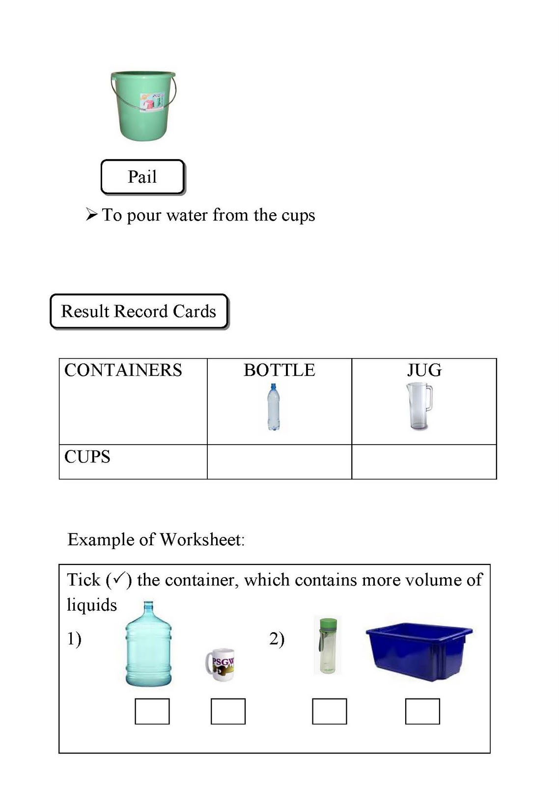Measuring Jug Worksheet