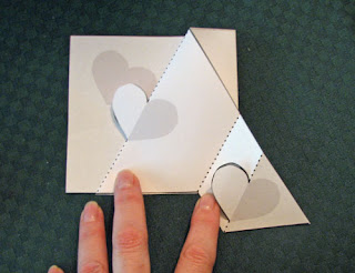 trifold heart pop up card