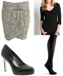 Sequin Mini Skirt and black outfit