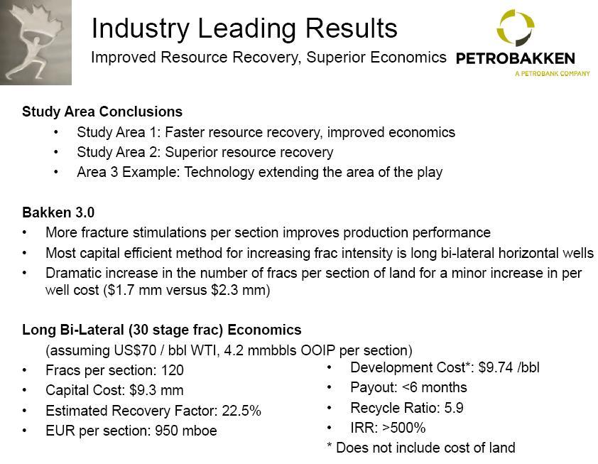 Petrobakken Latest Drilling Economics and Results in Canadas