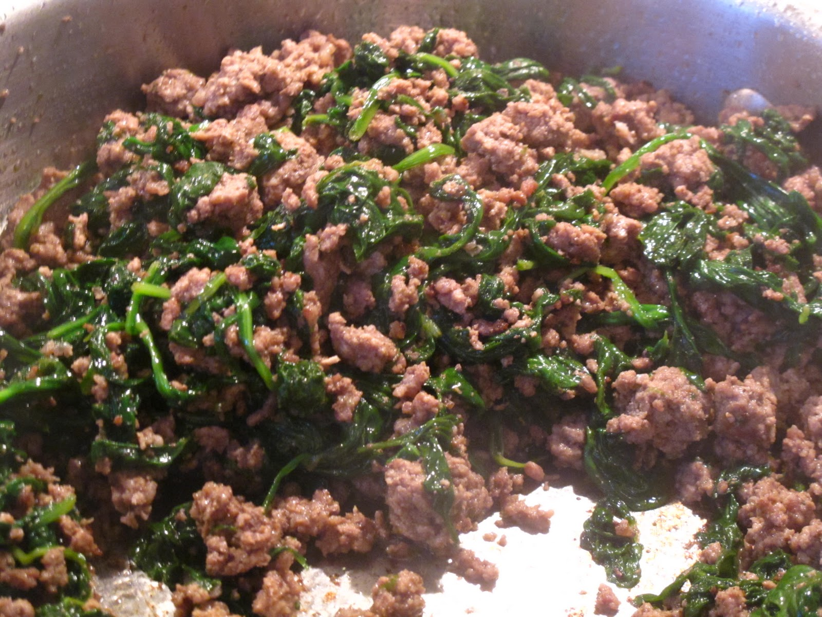 Enjoying Healthy Foods Ground Beef And Spinach