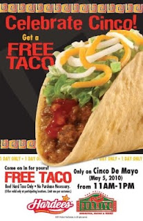 Hardee's Free Beef Taco on Cinco de Mayo