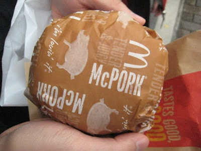 McDonald's McPork Sandwich in its wrapper