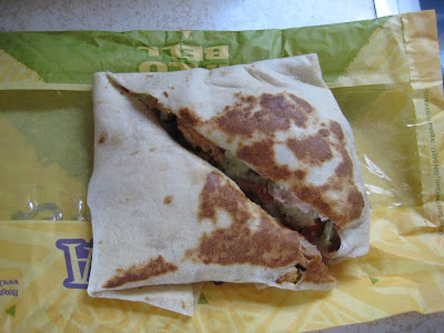 Taco Bell's Bacon Ranch Tortada out of the bag