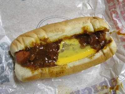Wienerschnitzel Chili Cheese Dog top view