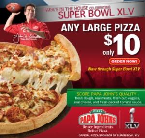 News Papa John 39 S Any Large For 10 Till Super Bowl Xlv Brand Eating
