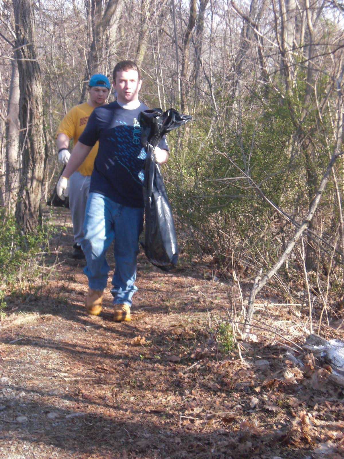 Brian w picking up trash
