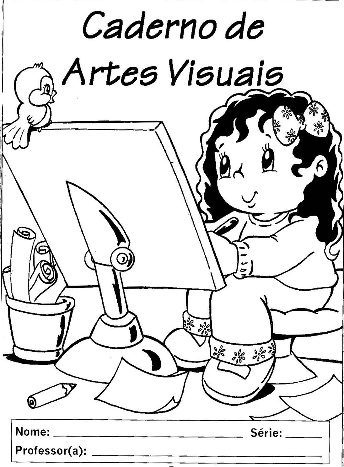 Capa Caderno De Artes Visuais Infantil Desenhos Para Colorir