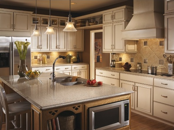 Dark Brown Kitchen Cabinets White Countertop