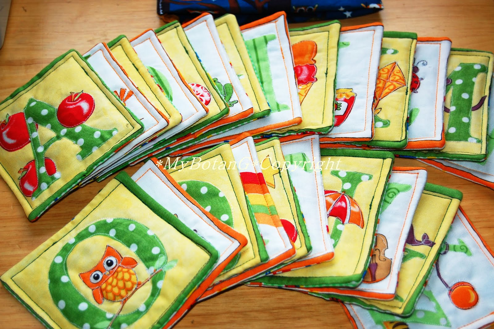 Mybotang fabric scrap series cards - Features Of The Quilted Alphabet Cards