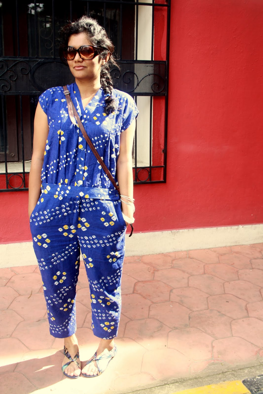 6e58d6bddb4 Wearing self designed Jumpsuit with bag from levitate and sandals from  Lifestyle