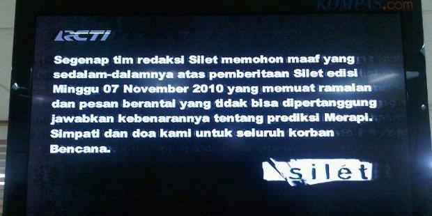 Permohonan Maaf tayangan SILET RCTI