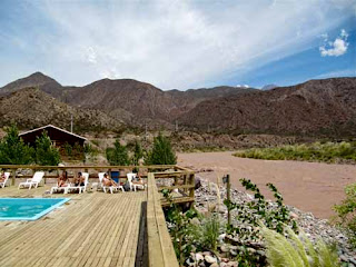 Lazin' on the Mendoza River in the Andes Mountains Argentina
