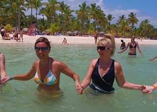 Pat dunlap Doing Ocean Arobics Punta Cuna Dominican Republic