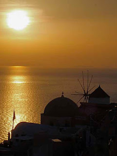 Sunset Oia Santorini Greece Greek Island