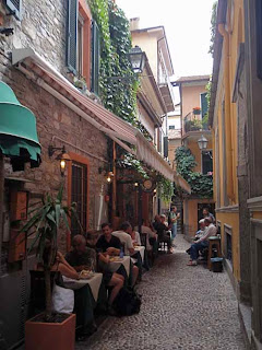 Outdoor Dinning Street Bellagio Lake Como Italy