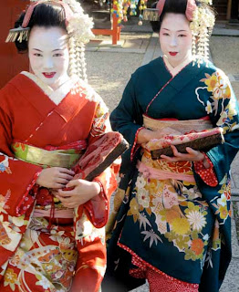 Geisha Girls Old Gion District  Kyoto Japan