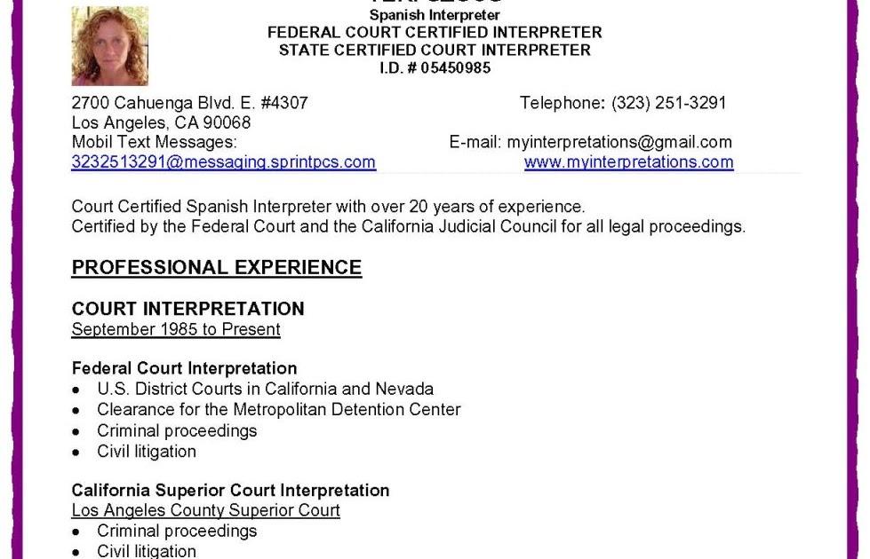 job resume in spanish
