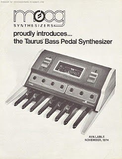 retro synth ads moog taurus bass pedal synthesizer aka taurus 1 introductory brochure 1974. Black Bedroom Furniture Sets. Home Design Ideas