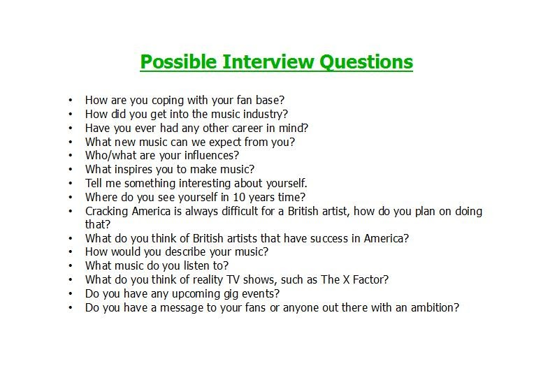Sarah's Music Magazine Possible Interview Questions