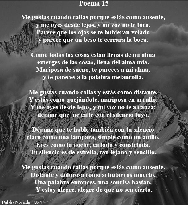 Poema XV - Pablo Neruda