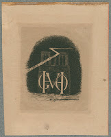 "A bookplate showing Victor Hugo's initials in front of an illustration of Notre Dame cathedral. A banner across the illustration reads ""Ex Libris Victor Hugo."""