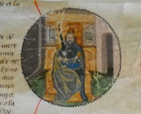 An illustration from a medieval manuscript, showing a crown man on a golden throne.