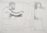 A sketch of a nude man painting a seated nude woman from life.