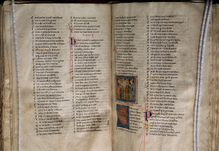 Two pages from a medieval manuscript with decorations including the previously described illustration.