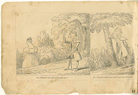 "A two-panel comic illustration, the first featuring an outdoor scene of a man watching a woman some distance from him. It is captioned ""Mr. Oldbuck's first sight of his lady-love."" The second image shows him leaning against a tree, captioned ""Mr. Oldbuck beholds her vanishing in the distance."""
