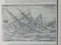An illustration of a ship stuck in ice.