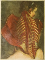 A color plate showing a seated woman from behind, glancing over her shoulder. The skin of back has been cut and pulled to the side to reveal the muscle and bone beneath.