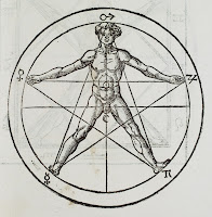 The figure of a nude man with his limbs positioned to overlap an enclosed pentagram. Various planetary signs a placed on the image.
