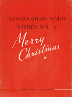 "A red page reading ""Montgomery Ward wishes you a Merry Christmas."""