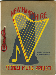 "A paper cover with red text reading ""New Hampshire Federal Music Project"" and a yellow harp and music note over the silhouette of the state."