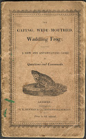 "A title page for ""the Gaping, Wide-Mouthed, Waddling Frog,"" which includes an illustration of a frog."