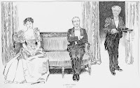 "An illustration showing a man and woman, both well-dressed, sitting on either end of a sofa and looking away from each other. The woman has her hands in her lap and the man's arms are crossed. To the right of the page, a well-dressed older man carrying a tray of glasses stands just inside the room, looking at them. The illustration is captioned ""A little story. By a sleeve."""